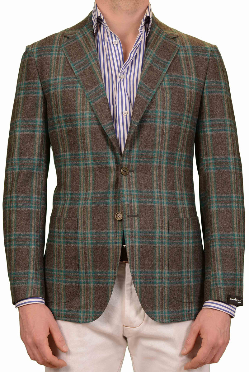SARTORIO Napoli by KITON Gray Windowpane Wool Silk Flannel Blazer Jacket NEW