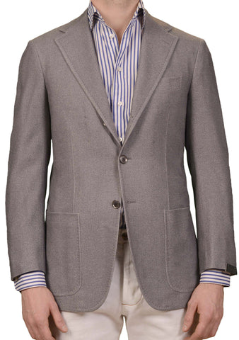 SARTORIO Napoli by KITON Gray Wool Angora Cashmere Flannel Blazer Jacket NEW