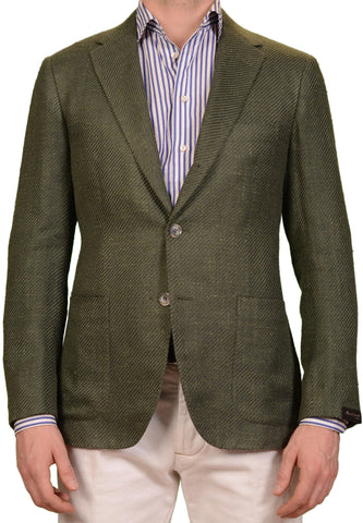 SARTORIO Napoli by KITON Green Basketweave Silk Linen Cotton Blazer Jacket NEW