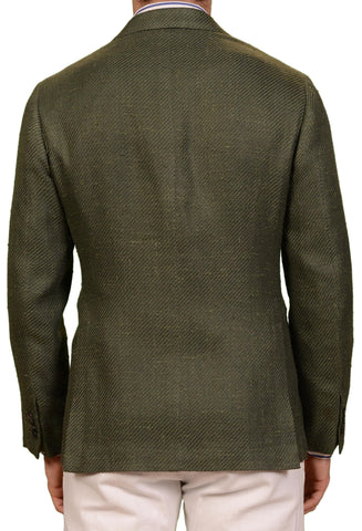SARTORIO Napoli by KITON Green Basketweave Silk Linen Cotton Jacket US 42 NEW 52
