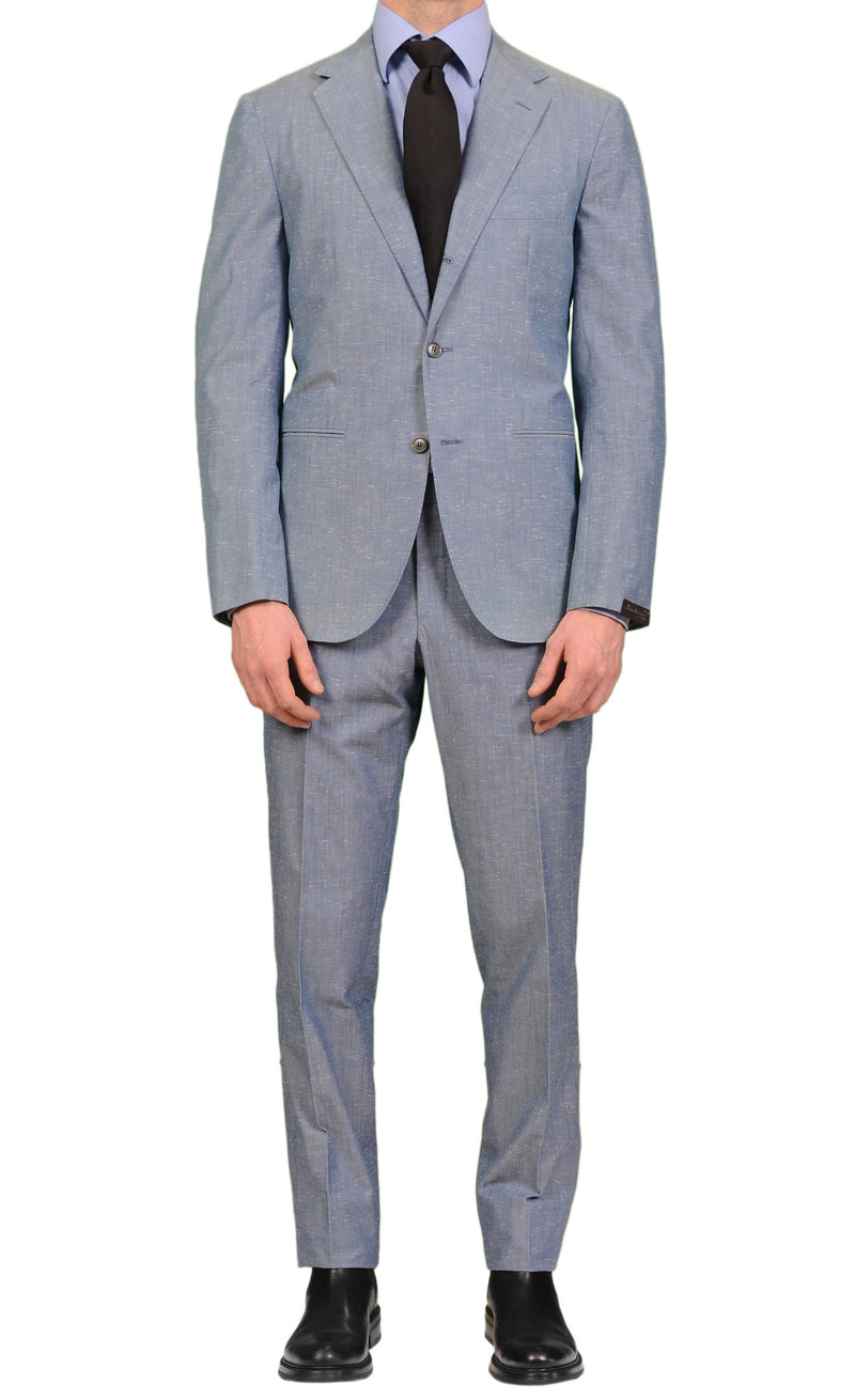 SARTORIO Napoli by KITON Light Blue Cotton Suit NEW Slim Fit