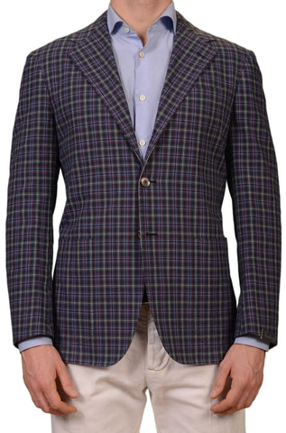 SARTORIO Napoli by KITON Navy Blue Plaid Cotton Blazer Jacket EU 50 NEW US 38 40