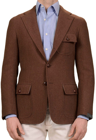 SARTORIO Napoli by KITON Rust Brown Wool Fleece Elbow Patch Blazer Jacket NEW