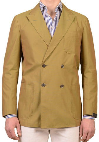 SARTORIO Napoli by KITON Solid Green Solaro Cotton Blend DB Jacket 54 NEW US 44
