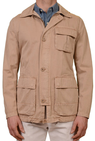 SARTORIO Napoli by KITON Tan Cotton Hooded Safari Jacket Coat EU 50 NEW US 40