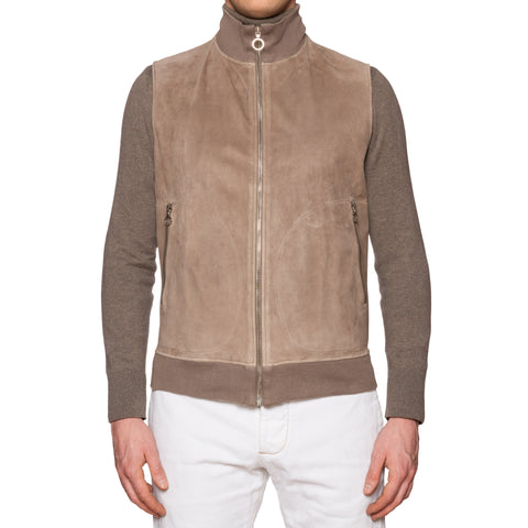 SERAPHIN Goat Suede Leather Ribbed Zip-up Vest EU 48 NEW US S