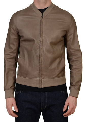 SERAPHIN France Tan Lamb Leather Unlined Cafe Racer Bomber Jacket EU 48 US S