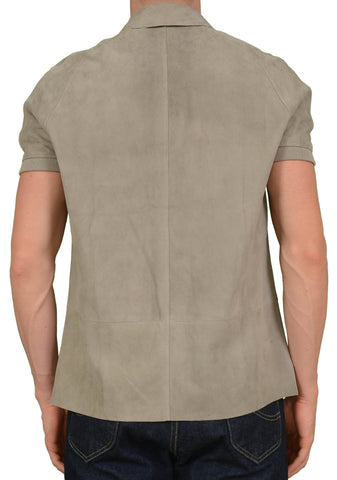 SERAPHIN France Goat Suede Leather Short Sleeve Shirt Jacket FR 50 NEW US M