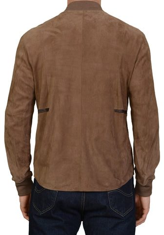 SERAPHIN Taupe Goat Suede Leather Croco Trims Cafe Racer Bomber Jacket 50 NEW M