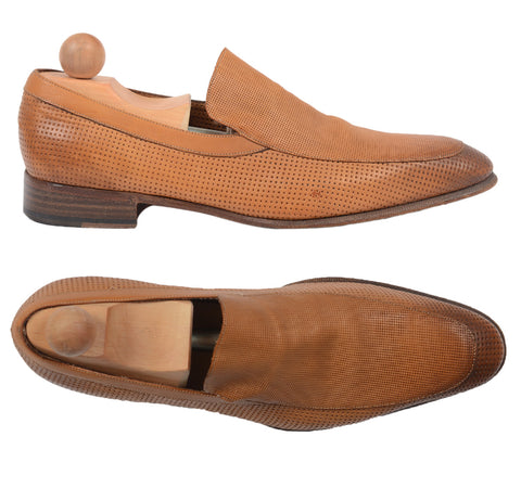 SERGIO ROSSI Cognac Perforated Leather Slip-on Shoes Loafer US 9