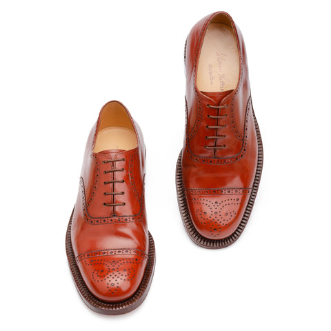 "SILVANO LATTANZI ""1042"" Burnt Red 5 Eyelet Cap Toe Oxford Dress Shoes NEW US 7.5"