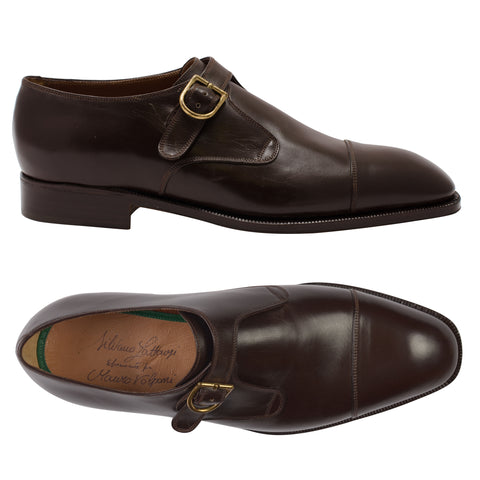 SILVANO LATTANZI 1062 Handmade Brown Single Monk-Strap Dress Shoes NEW 9