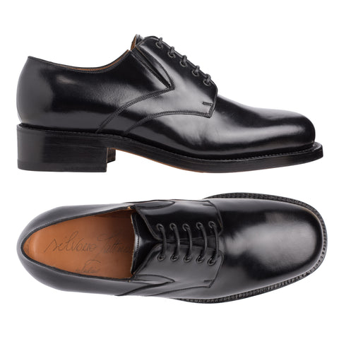 "SILVANO LATTANZI ""381"" Handmade Black Leather 5 Eyelet Derby Dress Shoes NEW 8"