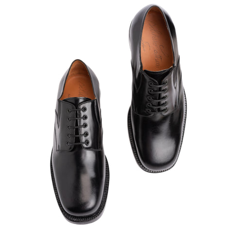 "SILVANO LATTANZI ""381"" Handmade Black Leather 5 Eyelet Derby Dress Shoes NEW 7.5"