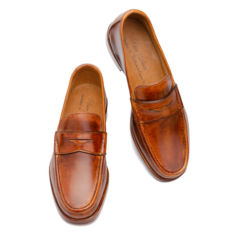 "SILVANO LATTANZI ""47003"" Handmade Brown Leather Penny Loafer Shoes NEW US 6.5"