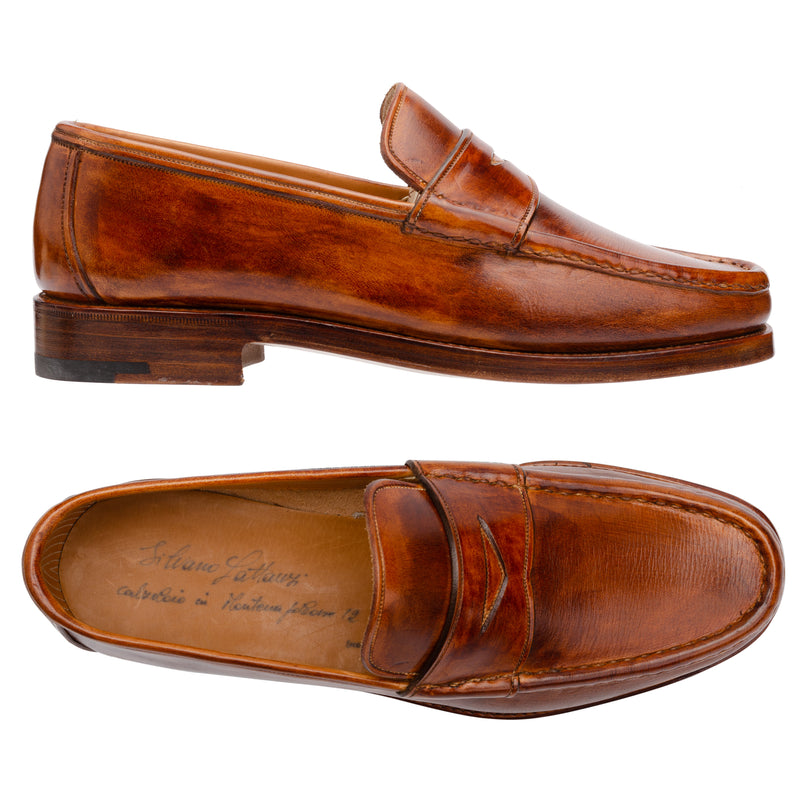 "SILVANO LATTANZI ""47003"" Handmade Brown Leather Welted Penny Loafer Shoes NEW"