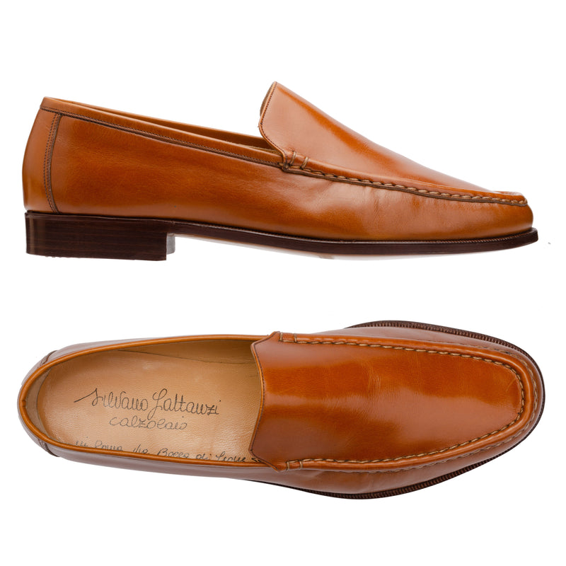 "SILVANO LATTANZI ""6039"" Handmade Cognac Leather Loafer Shoes NEW US 10"