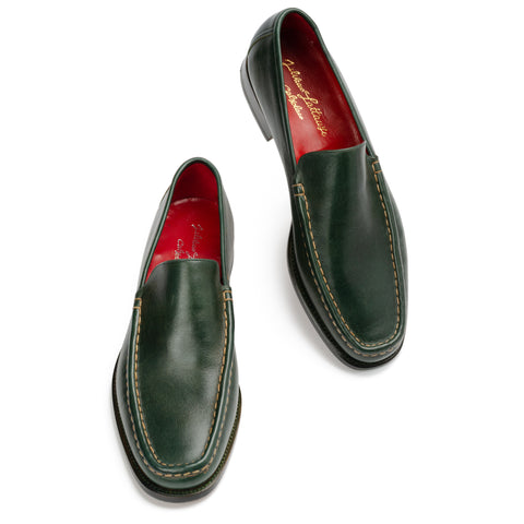 "SILVANO LATTANZI ""6039"" Handmade Green Leather Loafer Shoes NEW US 9.5"