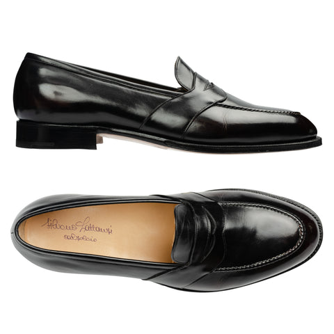 SILVANO LATTANZI Antiqued Black Leather Moc Toe Penny Loafer Shoes NEW US 11.5
