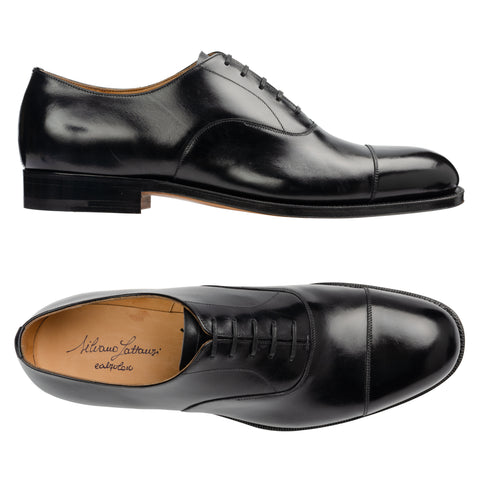 SILVANO LATTANZI Black Leather 5 Eyelet Cap Toe Oxford Dress Shoes NEW US 9.5