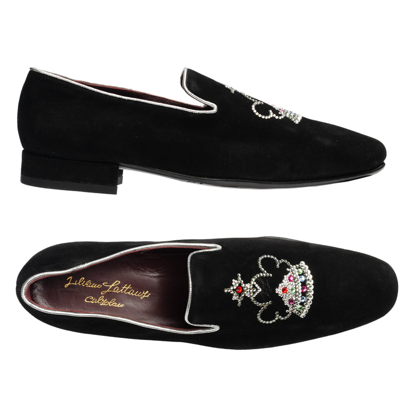 SILVANO LATTANZI  Black Suede Strass Logo Crest Slipper Loafer Shoes NEW US 9