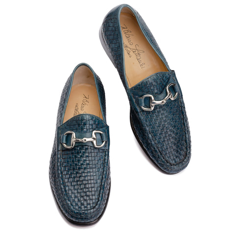 SILVANO LATTANZI Blue Woven Equestrian Horsebit Loafer Shoes NEW US 9