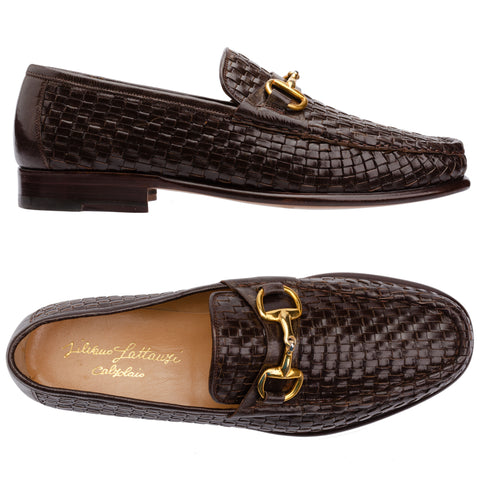 SILVANO LATTANZI Brown Woven Equestrian Horsebit Loafer Shoes NEW US 8