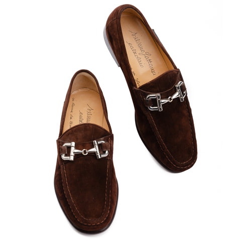 SILVANO LATTANZI Brown Chamois Suede Equestrian Horsebit Loafer Shoes NEW US 9