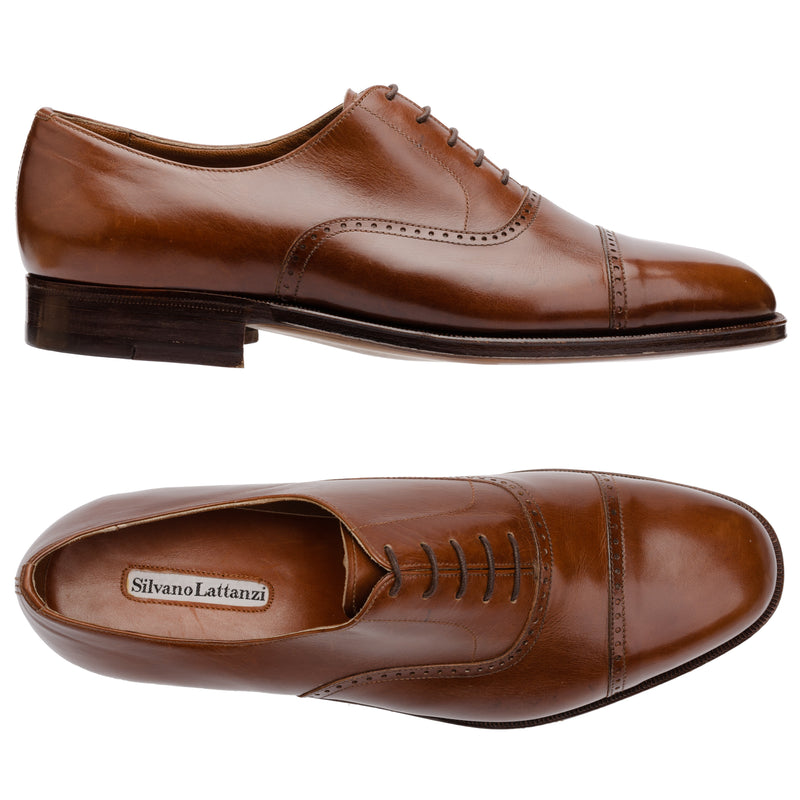SILVANO LATTANZI Brown Leather 5 Eyelet Cap Toe Oxford Dress Shoes NEW US 8