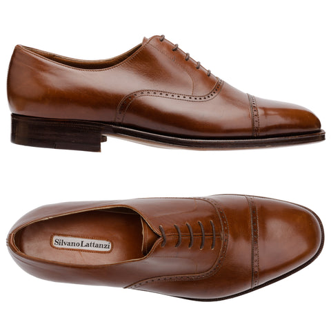 SILVANO LATTANZI Brown Leather 5 Eyelet Cap Toe Oxford Dress Shoes NEW US 7.5