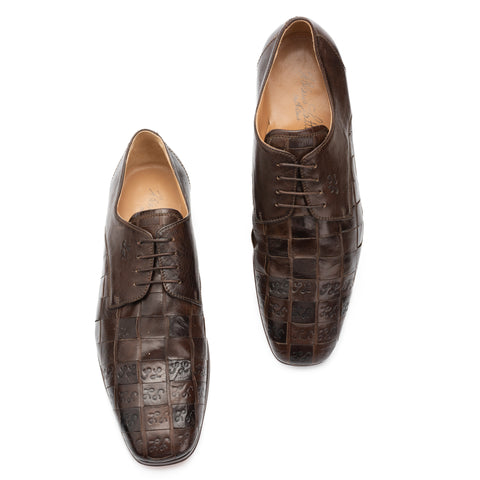 SILVANO LATTANZI Brown SL Signature 4 Eyelet Derby Dress Shoes NEW US 9