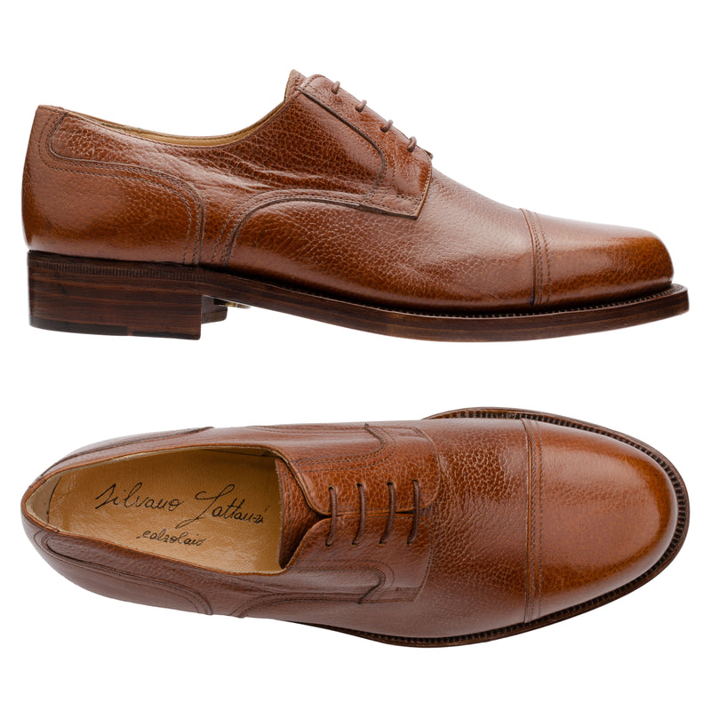 SILVANO LATTANZI Brown Scotchgrain Cap Toe Derby Dress Shoes NEW US 8