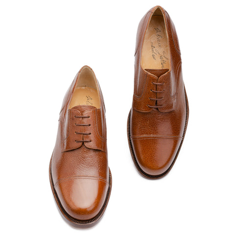 SILVANO LATTANZI Brown Scotchgrain Cap Toe Derby Dress Shoes NEW US 8.5