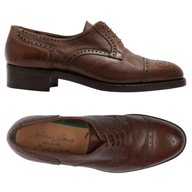 SILVANO LATTANZI Brown Scotchgrain 4 Eyelet Brogue Derby Dress Shoes NEW 8