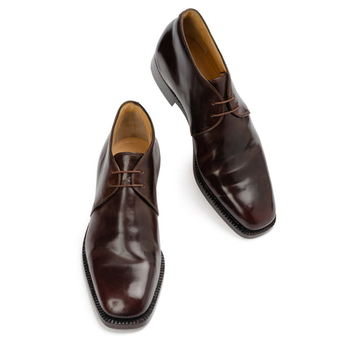SILVANO LATTANZI Brown Shell Cordovan Ankle Chukka Boots Shoes NEW US 9.5