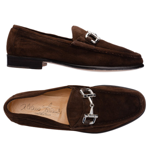 SILVANO LATTANZI Brown Suede Equestrian Horsebit Loafer Shoes NEW US 8.5