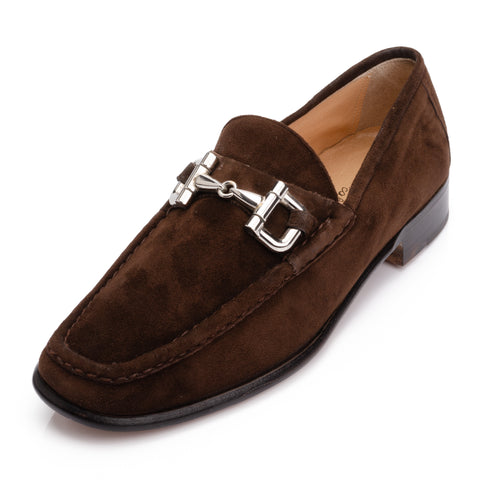 SILVANO LATTANZI Brown Suede Equestrian Horsebit Loafer Shoes NEW US 8