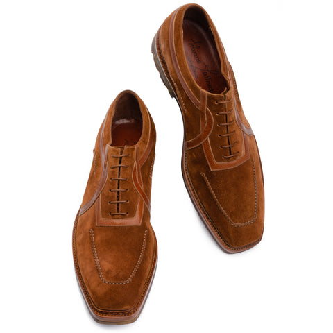 SILVANO LATTANZI Brown Suede Leather Norwegian Oxford Shoes NEW US 8.5