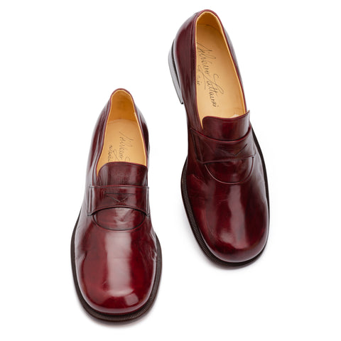 SILVANO LATTANZI Burgundy Leather Round Toe Penny Loafer Shoes NEW US 8.5