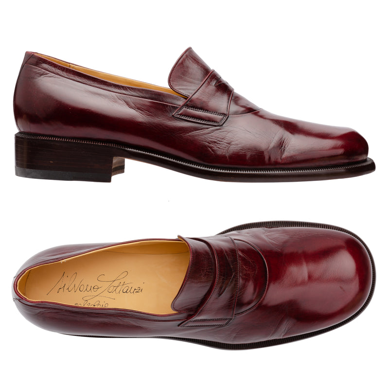 SILVANO LATTANZI Burgundy Leather Round Toe Penny Loafer Shoes NEW US 9