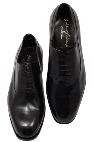 "SILVANO LATTANZI ""COLLEG"" Black ""Skin Stitched"" Wholecut Dress Shoes NEW 8.5"