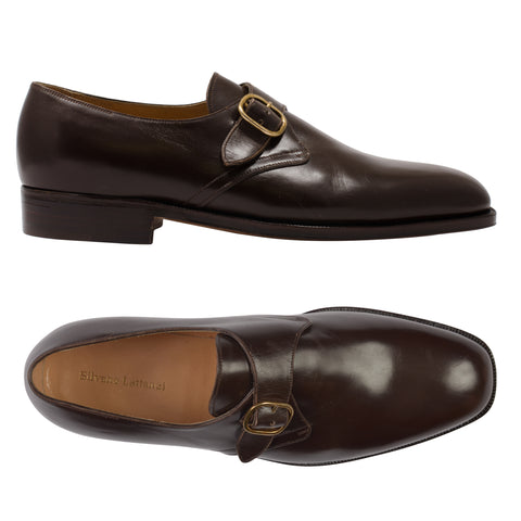 "SILVANO LATTANZI ""COREL"" Handmade Brown Single Monk-Strap Dress Shoes NEW 8"