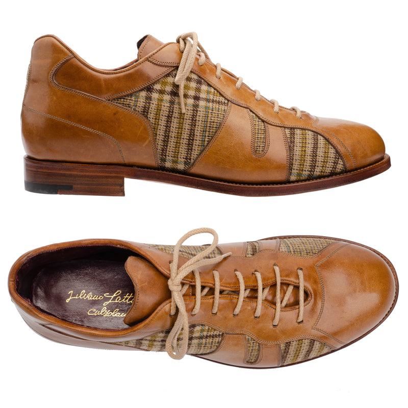 SILVANO LATTANZI Cognac Leather-Tweed Lace-up Shoes NEW US 9
