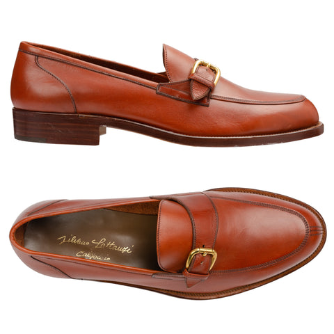 SILVANO LATTANZI Cognac Leather Monk Strap Unlined Loafer Shoes NEW US 8.5