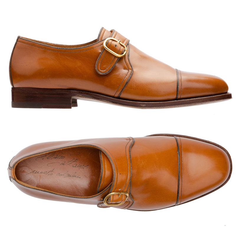 SILVANO LATTANZI Cognac Leather Single Monk Cap Toe Dress Shoes NEW US 8