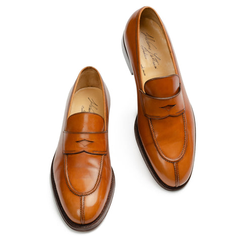 SILVANO LATTANZI Cognac Leather Split Moc Toe Penny Loafer Shoes NEW US 10