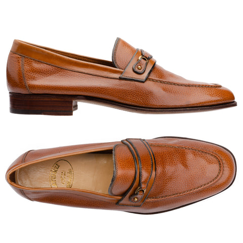 SILVANO LATTANZI Cognac Buffalo Grain Leather Moc Toe Loafer Shoes NEW US 8