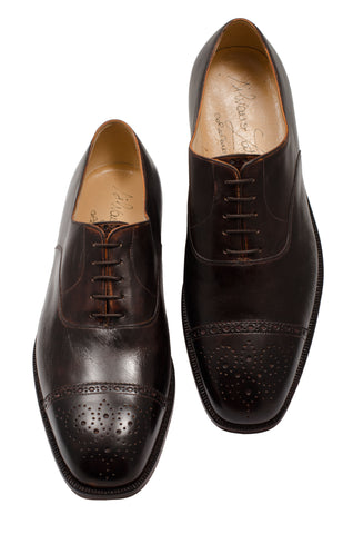SILVANO LATTANZI Dark Brown 5 Eyelet Cap Toe Oxford Dress Shoes NEW US 7.5