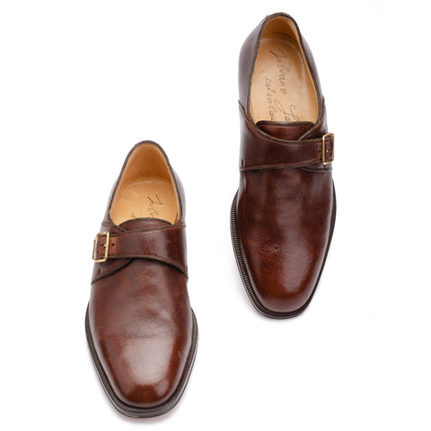 SILVANO LATTANZI Dark Cognac Elk Hide Single Monk Dress Shoes NEW US 9.5