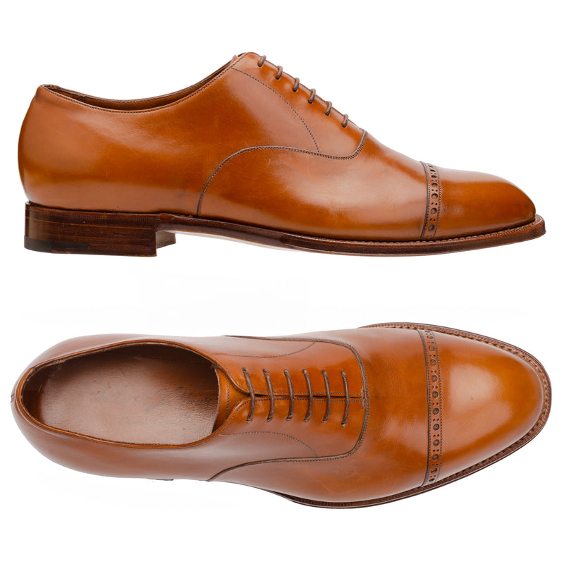 "SILVANO LATTANZI ""EG2"" Cognac 6 Eyelet Cap Toe Oxford Dress Shoes NEW US 10"